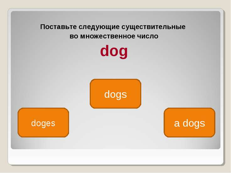 Поставьте следующие существительные во множественное число dog dogs doges a dogs