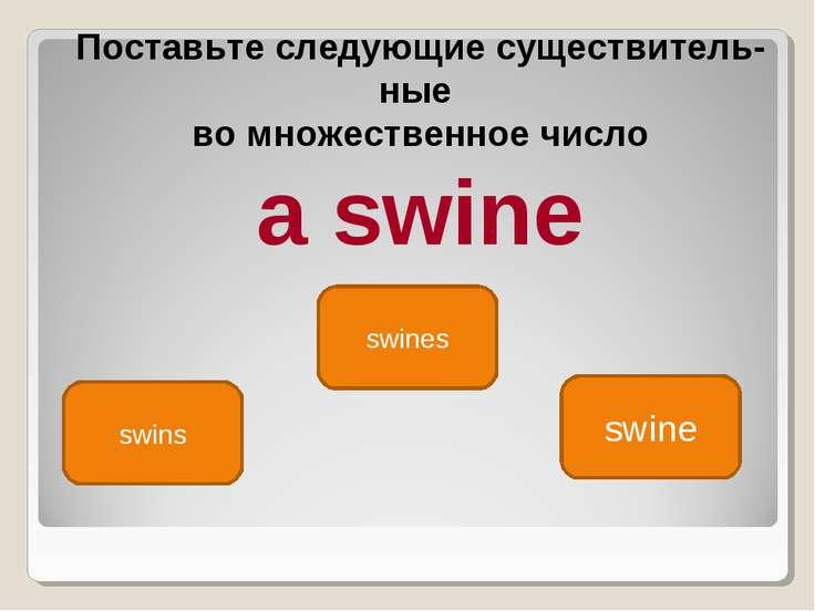 swine swins swines Поставьте следующие существитель ные во множественное числ...