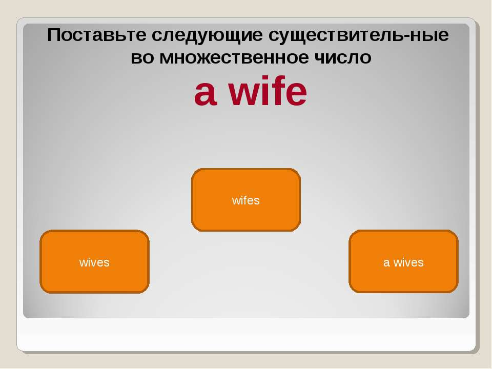 wives wifes a wives Поставьте следующие существитель ные во множественное чис...