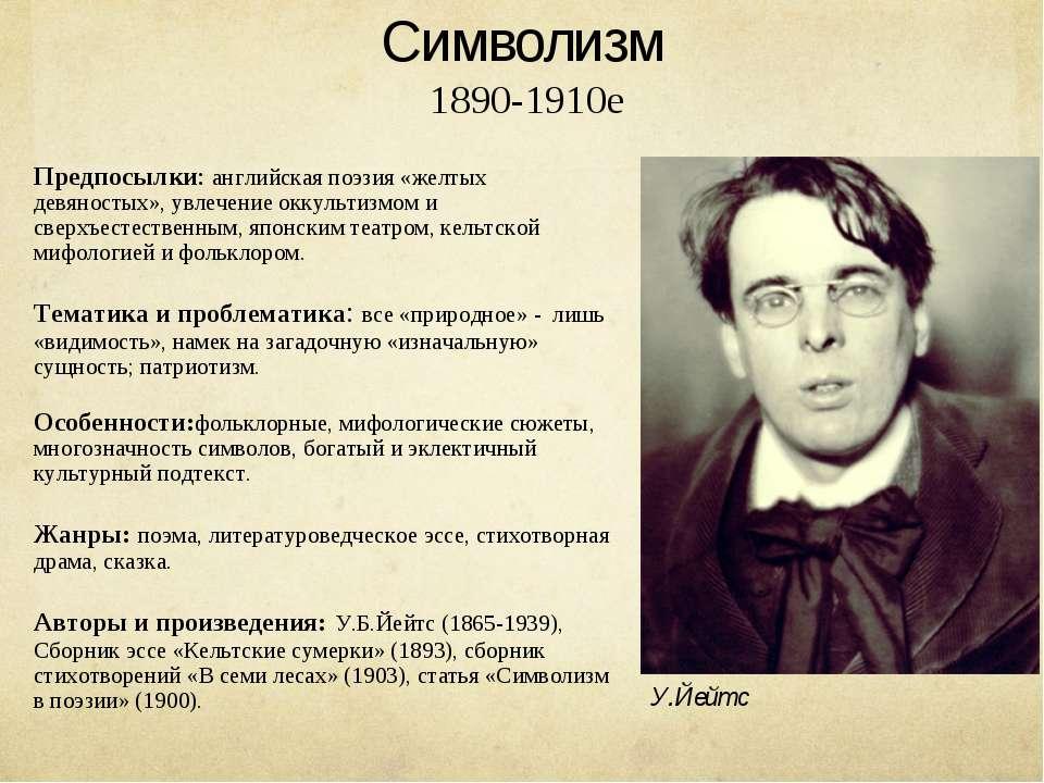 Символизм 1890-1910е Предпосылки: английская поэзия «желтых девяностых», увле...