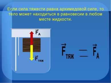 Если сила тяжести равна архимедовой силе, то тело может находиться в равновес...