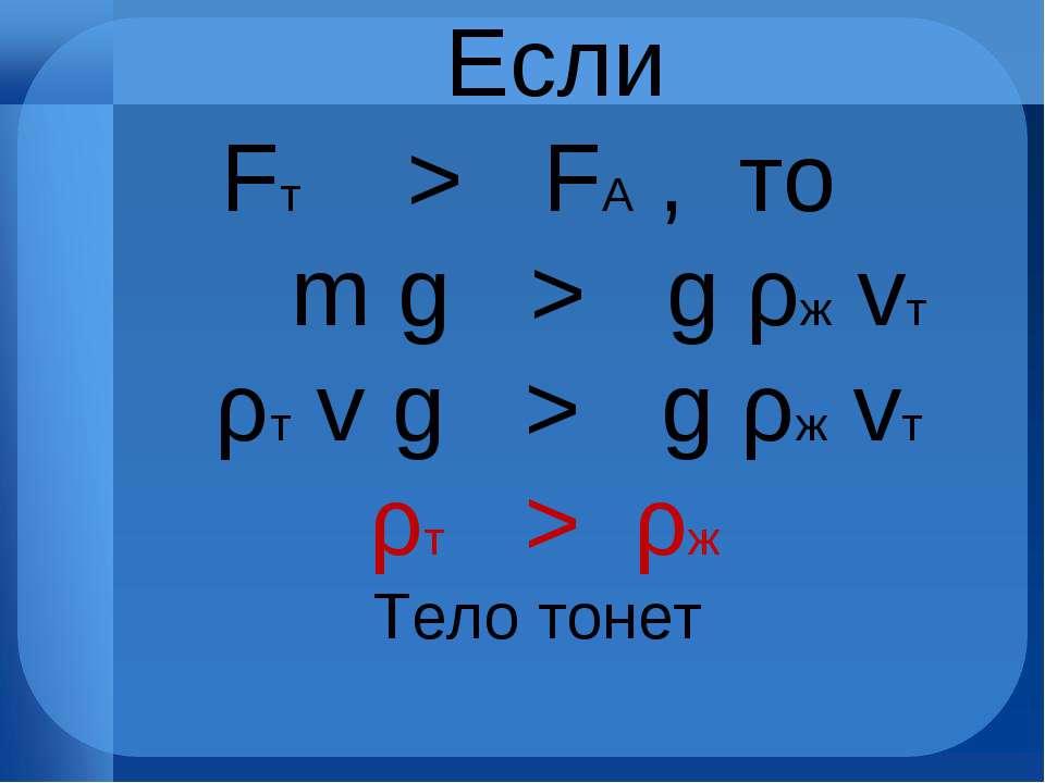 Если Fт > FА , то m g > g ρж vт ρт v g > g ρж vт ρт > ρж Тело тонет