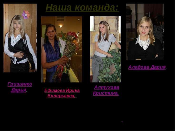 Наша команда: Грищенко Дарья, ученица 9 «А» класса, призер муниципальной олим...