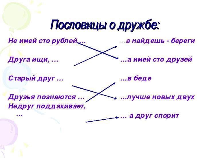 Пословицы о дружбе: Не имей сто рублей,… Друга ищи, … Старый друг … Друзья по...