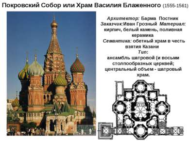 Покровский Собор или Храм Василия Блаженного (1555-1561) Архитектор: Барма По...
