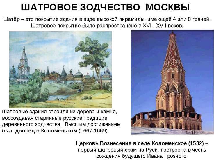 ШАТРОВОЕ ЗОДЧЕСТВО МОСКВЫ Шатёр – это покрытие здания в виде высокой пирамиды...
