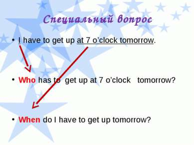 Специальный вопрос I have to get up at 7 o'clock tomorrow. Who has to get up ...