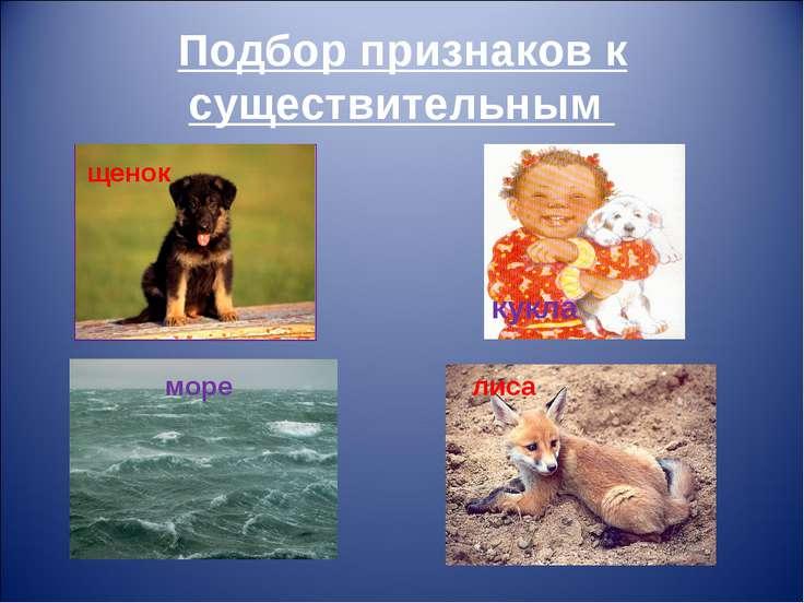 Подбор признаков к существительным лиса море кукла щенок