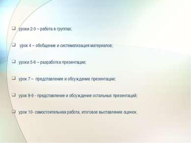 уроки 2-3 – работа в группах; урок 4 – обобщение и систематизация материалов;...