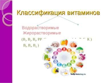 Классификация витаминов Водорастворимые Жирорастворимые (В1, В2, В6, РР, С, (...