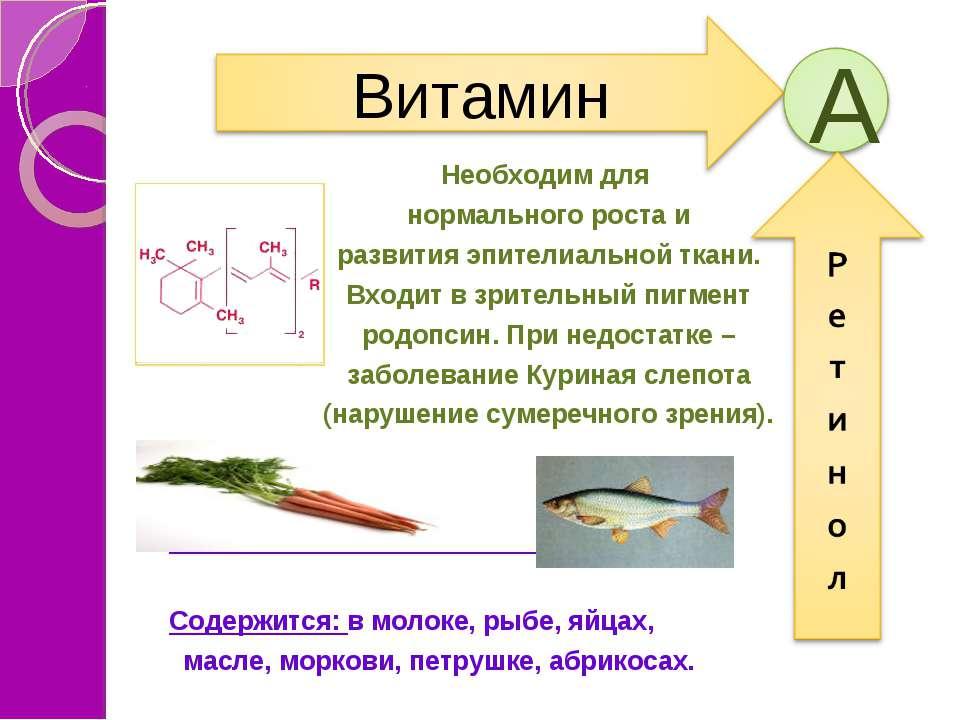 Необходим для нормального роста и развития эпителиальной ткани. Входит в зрит...