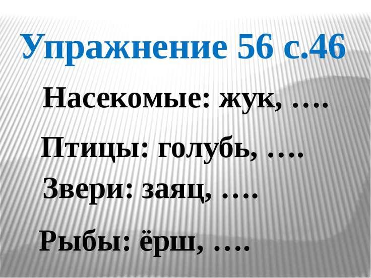 Упражнение 56 с.46 Насекомые: жук, …. Птицы: голубь, …. Звери: заяц, …. Рыбы:...