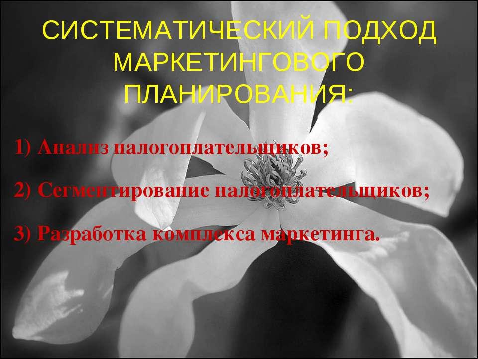 СИСТЕМАТИЧЕСКИЙ ПОДХОД МАРКЕТИНГОВОГО ПЛАНИРОВАНИЯ: Анализ налогоплательщиков...