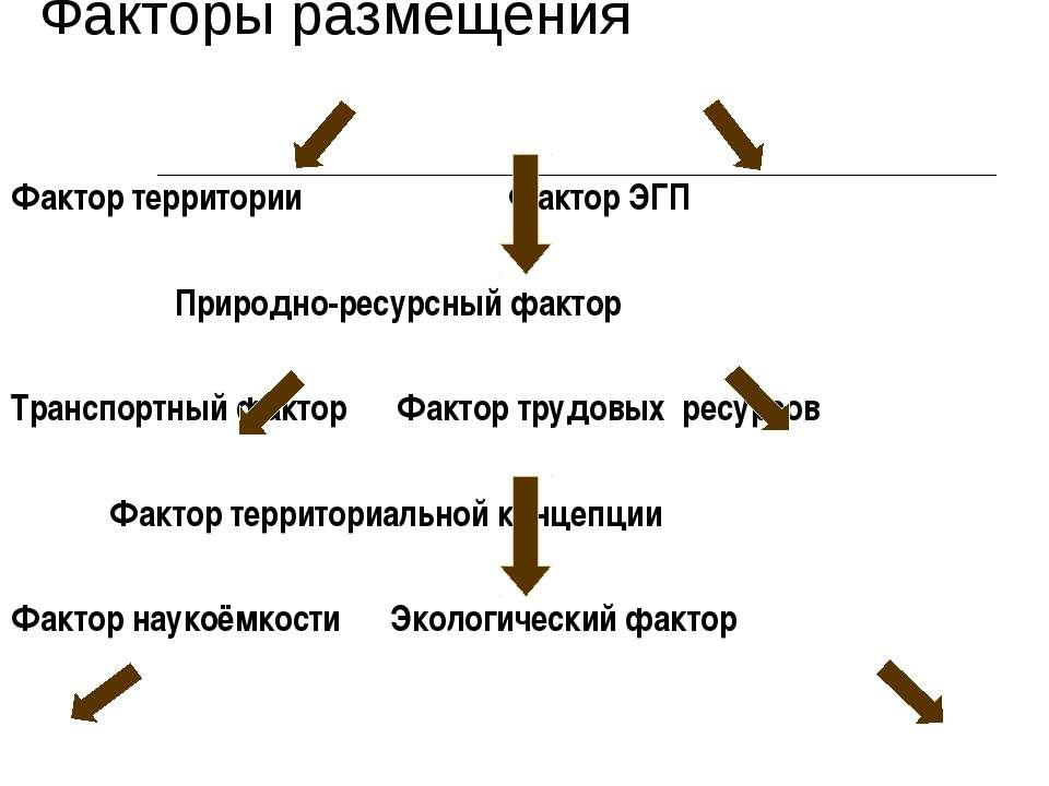 Факторы размещения Фактор территории Фактор ЭГП Природно-ресурсный фактор Тра...