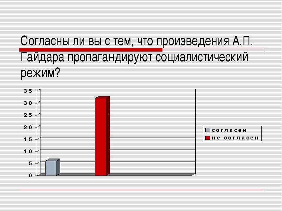 Согласны ли вы с тем, что произведения А.П. Гайдара пропагандируют социалисти...