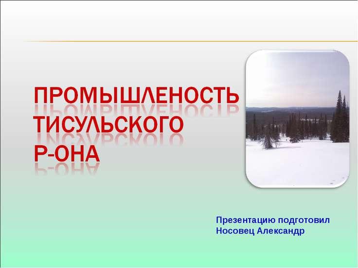 Презентацию подготовил Носовец Александр