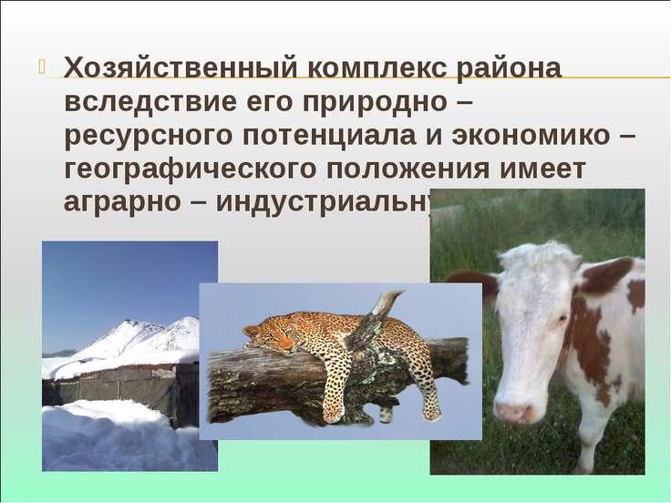 Хозяйственный комплекс района вследствие его природно – ресурсного потенциала...