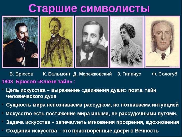 Старшие символисты 1903 Брюсов «Ключи тайн» : Цель искусства – выражение «дви...