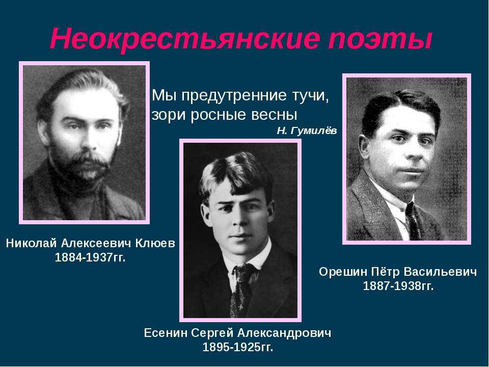 Николай Алексеевич Клюев 1884-1937гг. Орешин Пётр Васильевич 1887-1938гг. Есе...