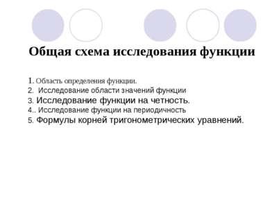 Общая схема исследования функции 1. Область определения функции. 2. Исследов...