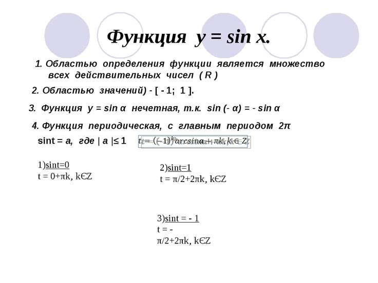 Функция у = sin x. 1. Областью определения функции является множество всех де...
