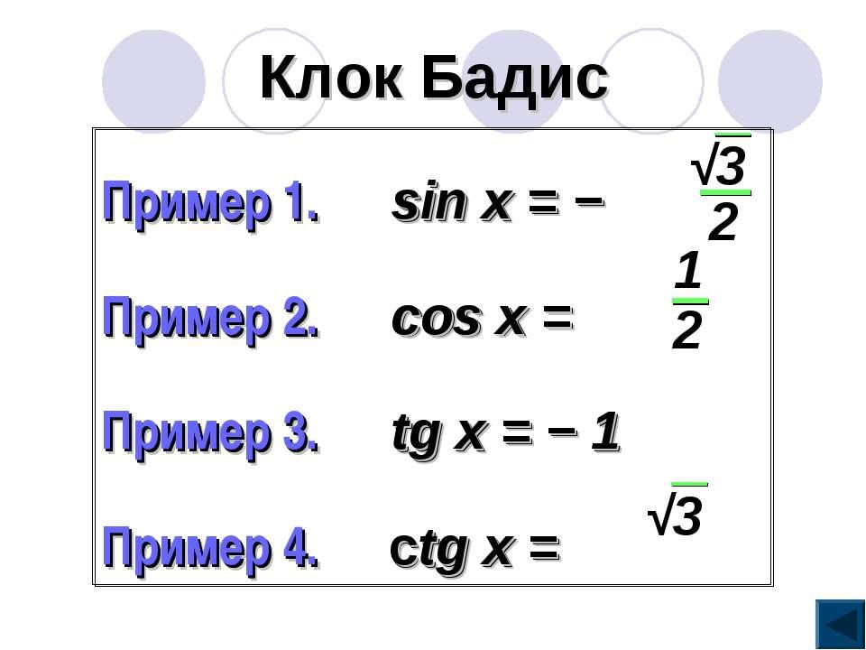 Клок Бадис Пример 1. sin x = − Пример 2. cos x = Пример 3. tg x = − 1 Пример ...