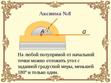 На любой полупрямой от начальной точки можно отложить угол с заданной градусн...