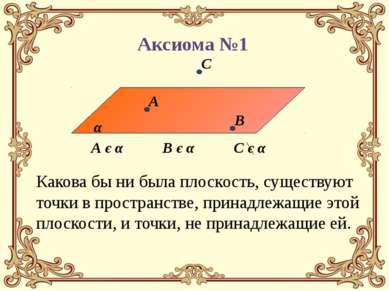 А є α В є α Аксиома №1 Какова бы ни была плоскость, существуют точки в простр...