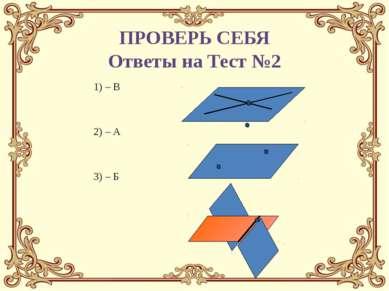 1) – В 2) – А 3) – Б ПРОВЕРЬ СЕБЯ Ответы на Тест №2