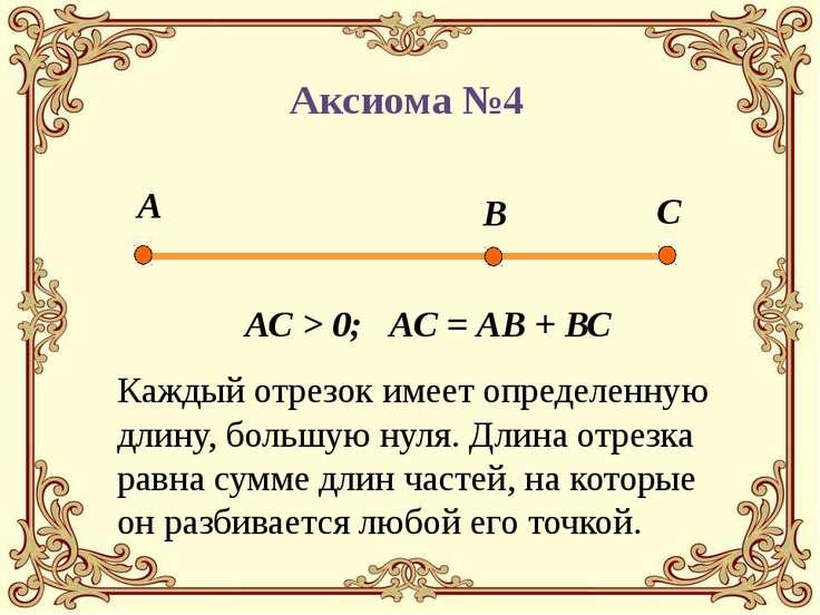 Каждый отрезок имеет определенную длину, большую нуля. Длина отрезка равна су...