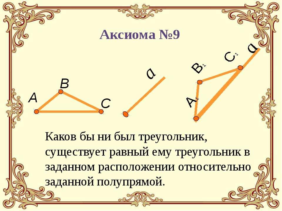 Каков бы ни был треугольник, существует равный ему треугольник в заданном рас...