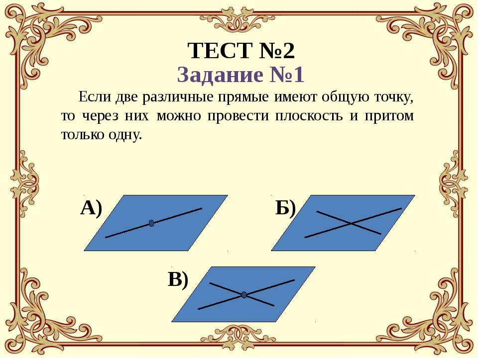Если две различные прямые имеют общую точку, то через них можно провести плос...