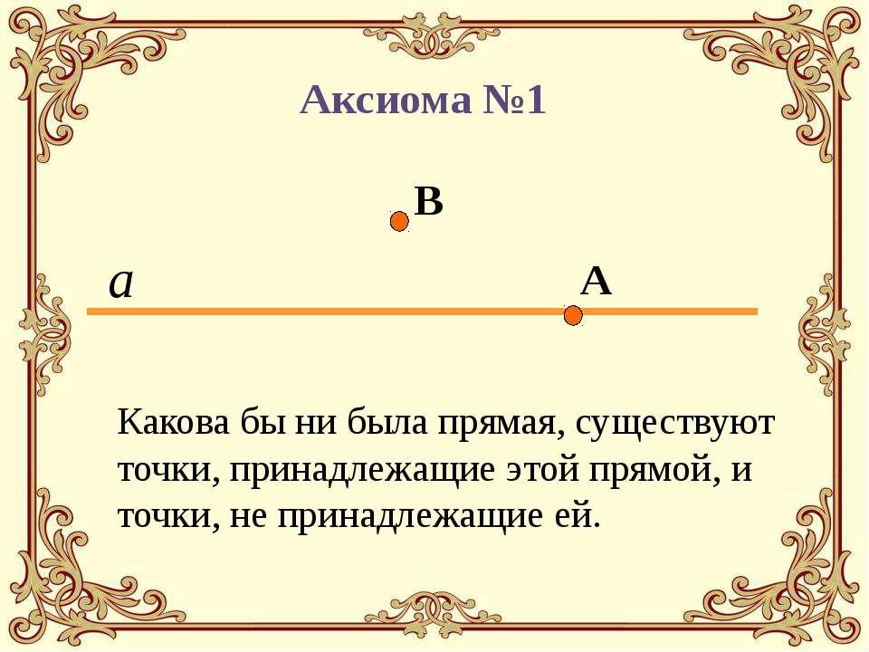 Какова бы ни была прямая, существуют точки, принадлежащие этой прямой, и точк...