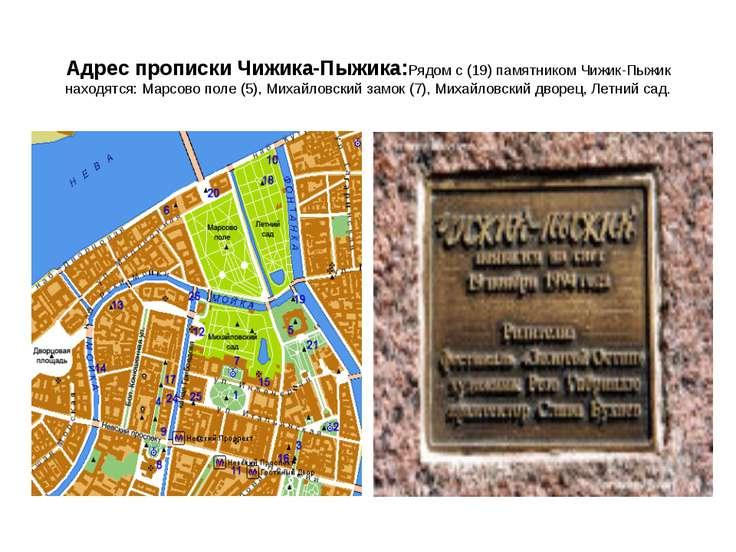 Адрес прописки Чижика-Пыжика:Рядом с (19) памятником Чижик-Пыжик находятся: М...