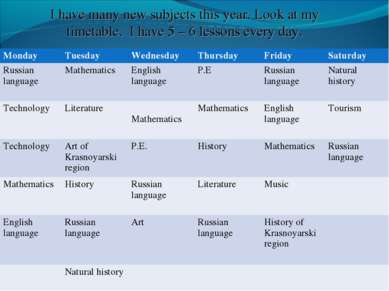 Monday Tuesday Wednesday Thursday Friday Saturday Russian language Mathematic...