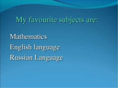 Mathematics English language Russian Language