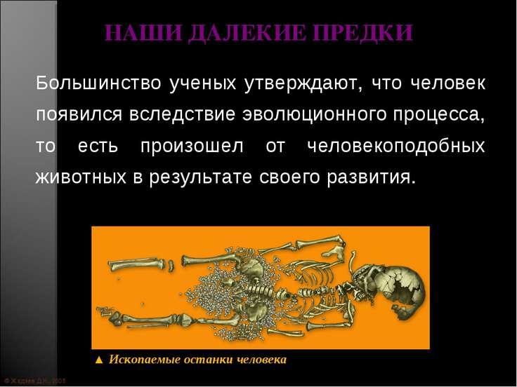 © Жадаев Д.Н., 2005 НАШИ ДАЛЕКИЕ ПРЕДКИ Большинство ученых утверждают, что че...