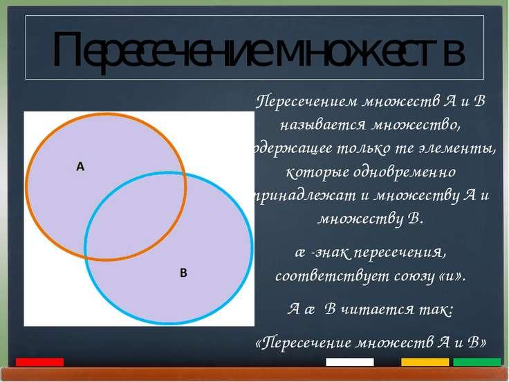 Пересечение множеств Пересечением множеств А и В называется множество, содерж...