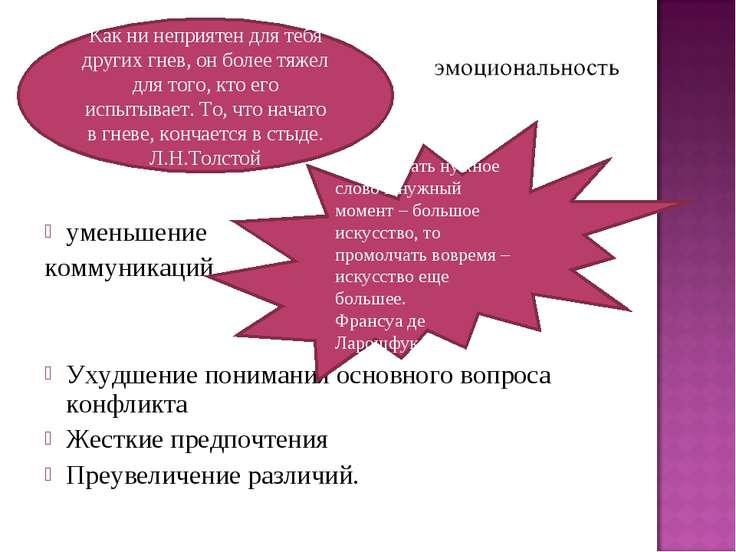уменьшение коммуникаций Ухудшение понимания основного вопроса конфликта Жестк...