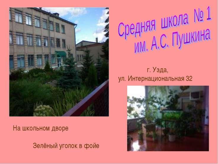 г. Узда, ул. Интернациональная 32 На школьном дворе Зелёный уголок в фойе