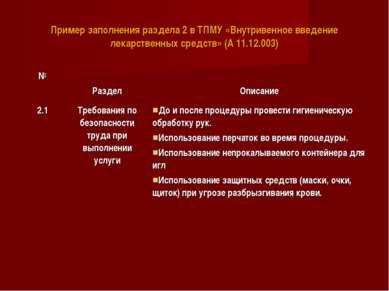 Пример заполнения раздела 2 в ТПМУ «Внутривенное введение лекарственных средс...