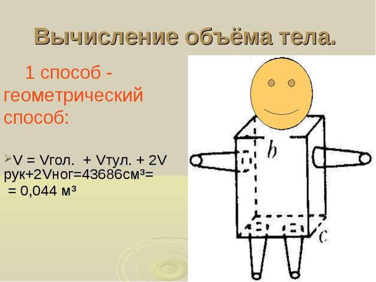 Вычисление объёма тела. 1 способ - геометрический способ: V = Vгол. + Vтул. +...