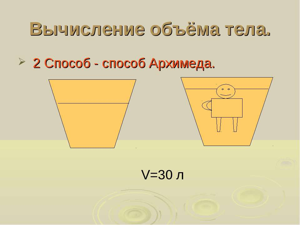 Вычисление объёма тела. 2 Способ - способ Архимеда. V=30 л