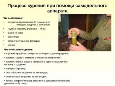Процесс курения при помощи самодельного аппарата Что необходимо: прозрачная п...
