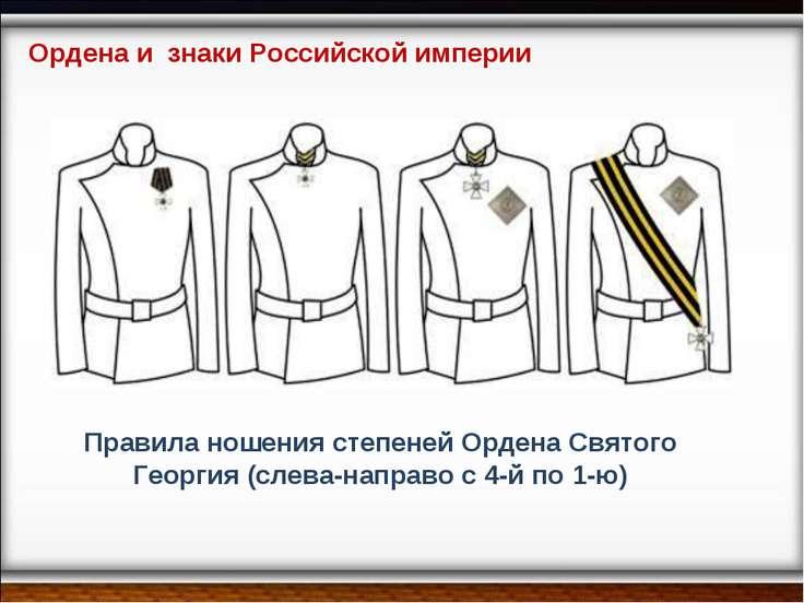 Правила ношения степеней Ордена Святого Георгия (слева-направо с 4-й по 1-ю) ...