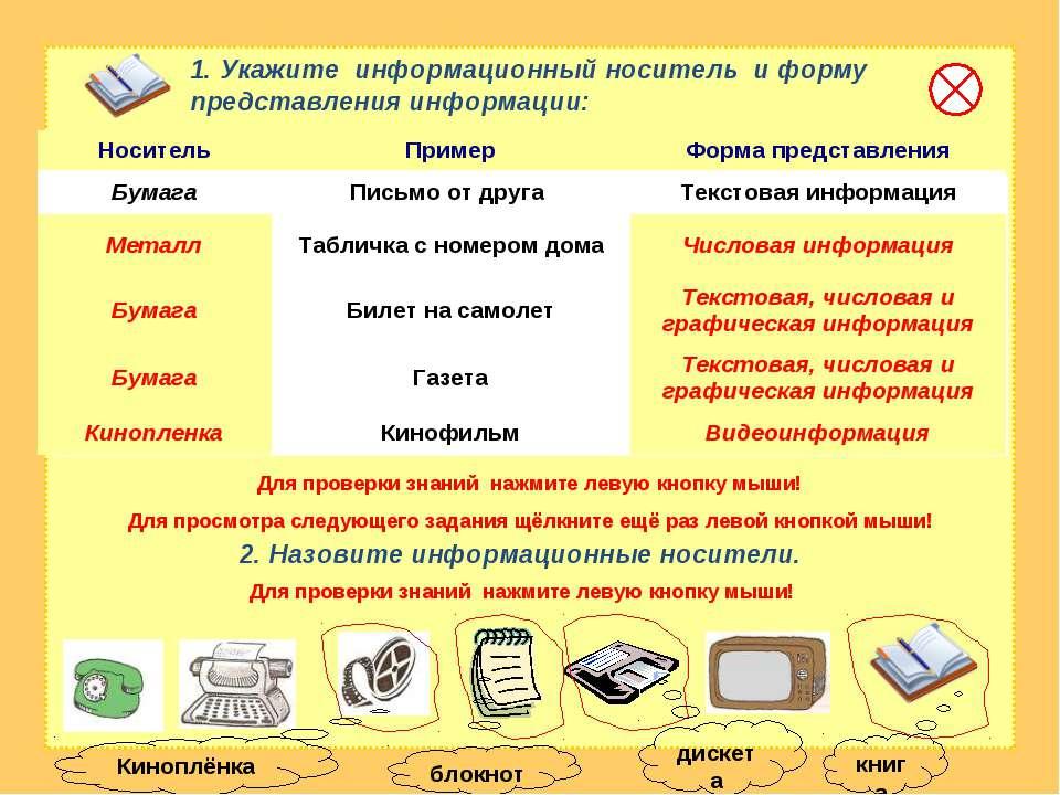 1. Укажите информационный носитель и форму представления информации: 2. Назов...