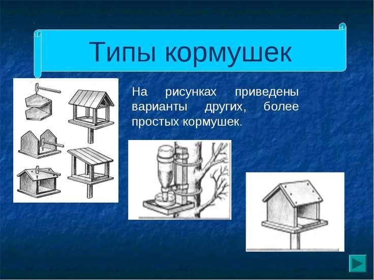 Типы кормушек На рисунках приведены варианты других, более простых кормушек.