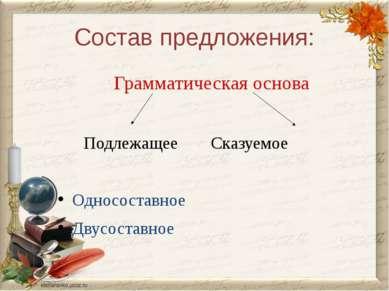 Состав предложения: Грамматическая основа Подлежащее Сказуемое Односоставное ...