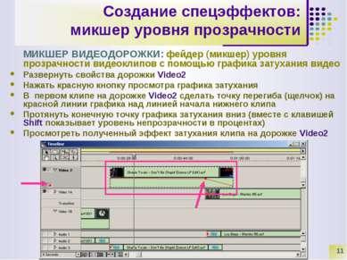 * Создание спецэффектов: микшер уровня прозрачности МИКШЕР ВИДЕОДОРОЖКИ: фейд...
