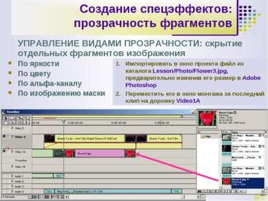 * Создание спецэффектов: прозрачность фрагментов УПРАВЛЕНИЕ ВИДАМИ ПРОЗРАЧНОС...